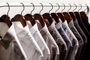 closet men's shirts hanging neatly