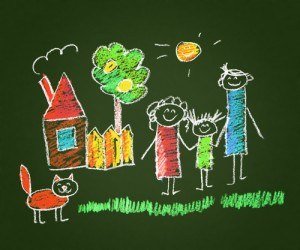 family.chalk.drawing.colorful