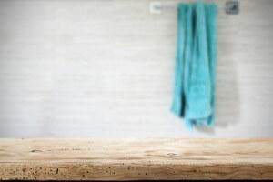 bathroom.woodbench.bluetowel.
