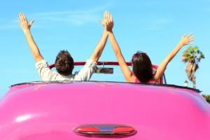 car convertible pink