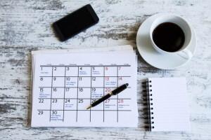 home office calendar on desk