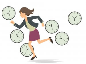 woman in a hurry clocks all around